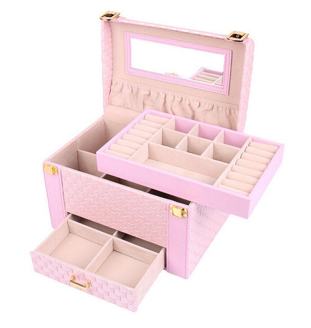 Moin Cuero Tejido De Arco De Caja De Joyas La Caja De Maquillaje  ~ Organizador De Joyas Para Cajones