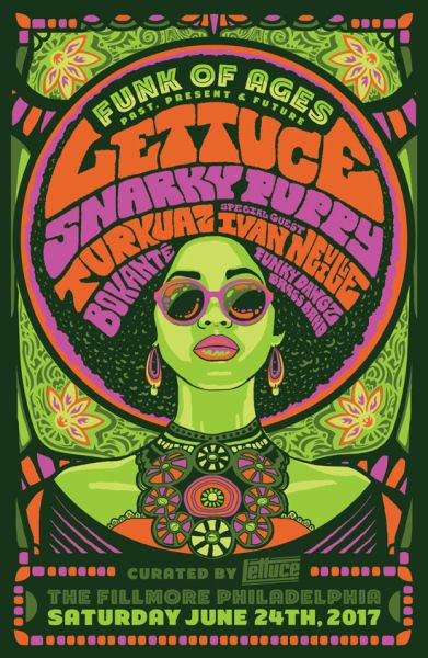Funk Of Ages Ft Lettuce Snarky Puppy Retro Poster Art By Derek Perez Of Peregon Creative Funky Music Poster Concert Poster Art Rock Poster Art