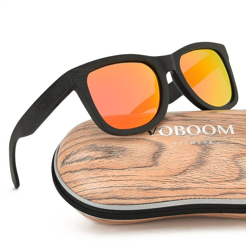 74927ebb24 VOBOOM Summer Polarized Men Sunglasses Black Bamboo Frame UV400 Mirror Coat  Sun Glasses 002  Affiliate