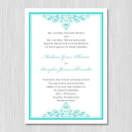 Tiffany Blue Wedding Invitations Printable Template