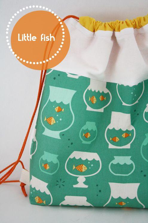 Drawstring backpack: little fish | Pinterest | Tassen, Beutel und ...