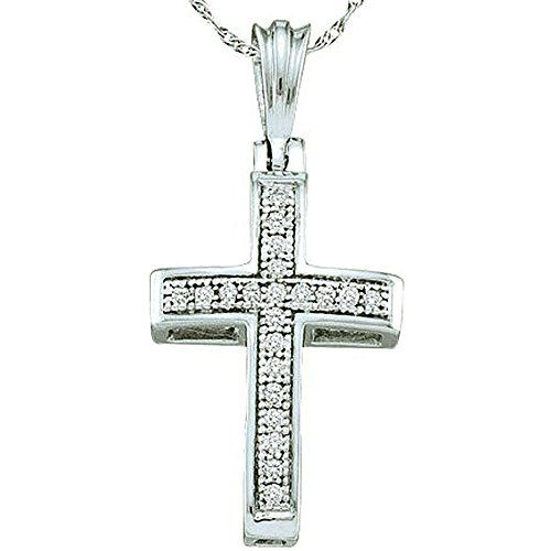0.07 Carat (ctw) 10k White Gold Micro Pave White Diamond Ladies Religious Cross Pendant. Crafted in 10K White-gold. Weighs approximately 1.1 grams. Diamond Color / Clarity : I-J / I2-I3. Diamond Weight : 0.07 ct tw. Get most bang for your buck.