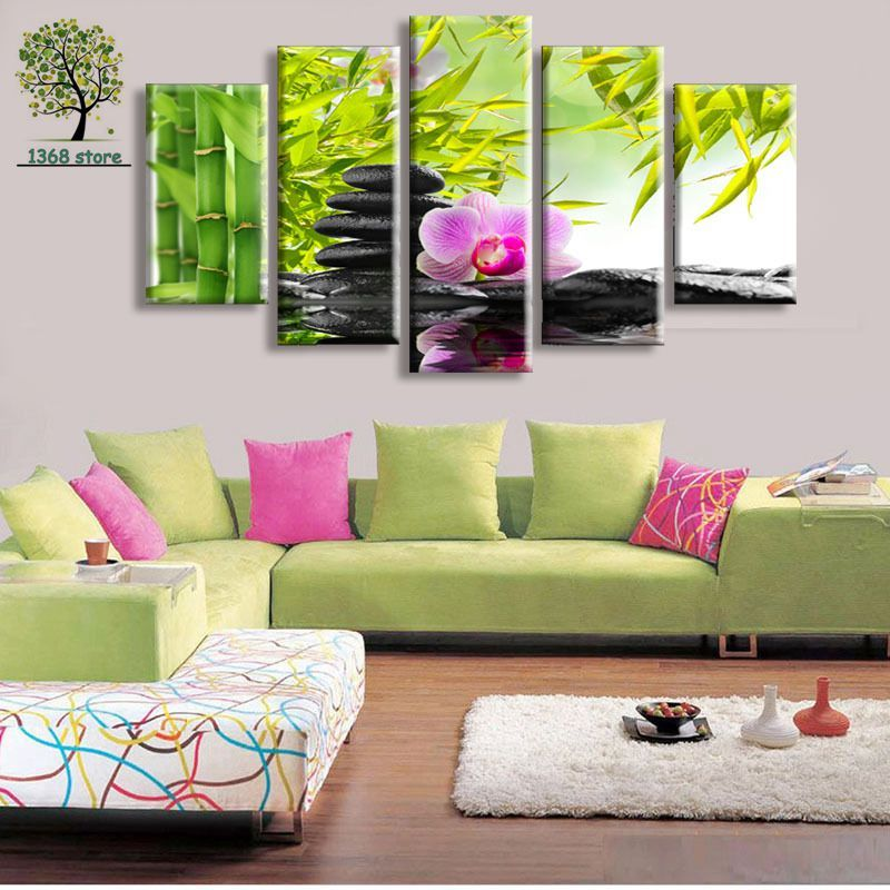 Attractive 5 Panel Wall Art Botanical Green Feng Shui Orchid Painting On Canvas  Abstract Paintings Cheap Pictures