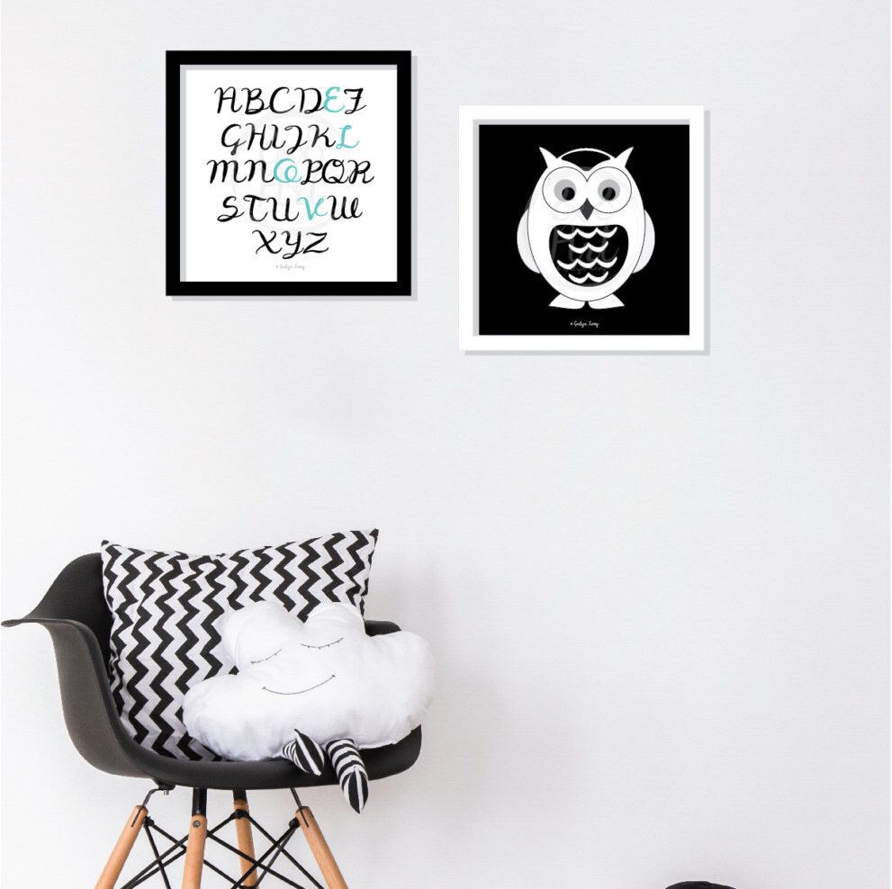 Love wall art alphabet art black white and color turqouise