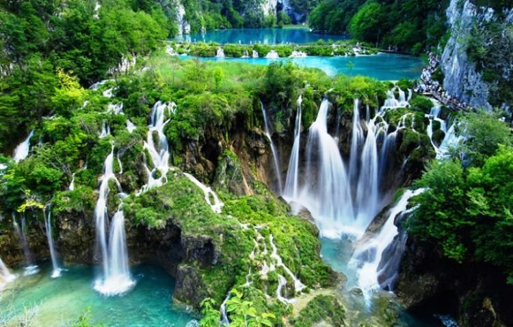 Plitvice Lakes, Croatia. 16 interconnected lakes with numerous waterfalls.
