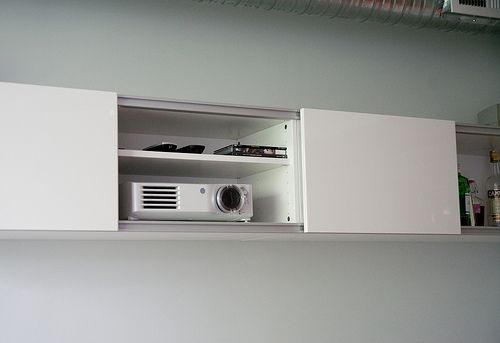 Shelving Into Wall To Projector