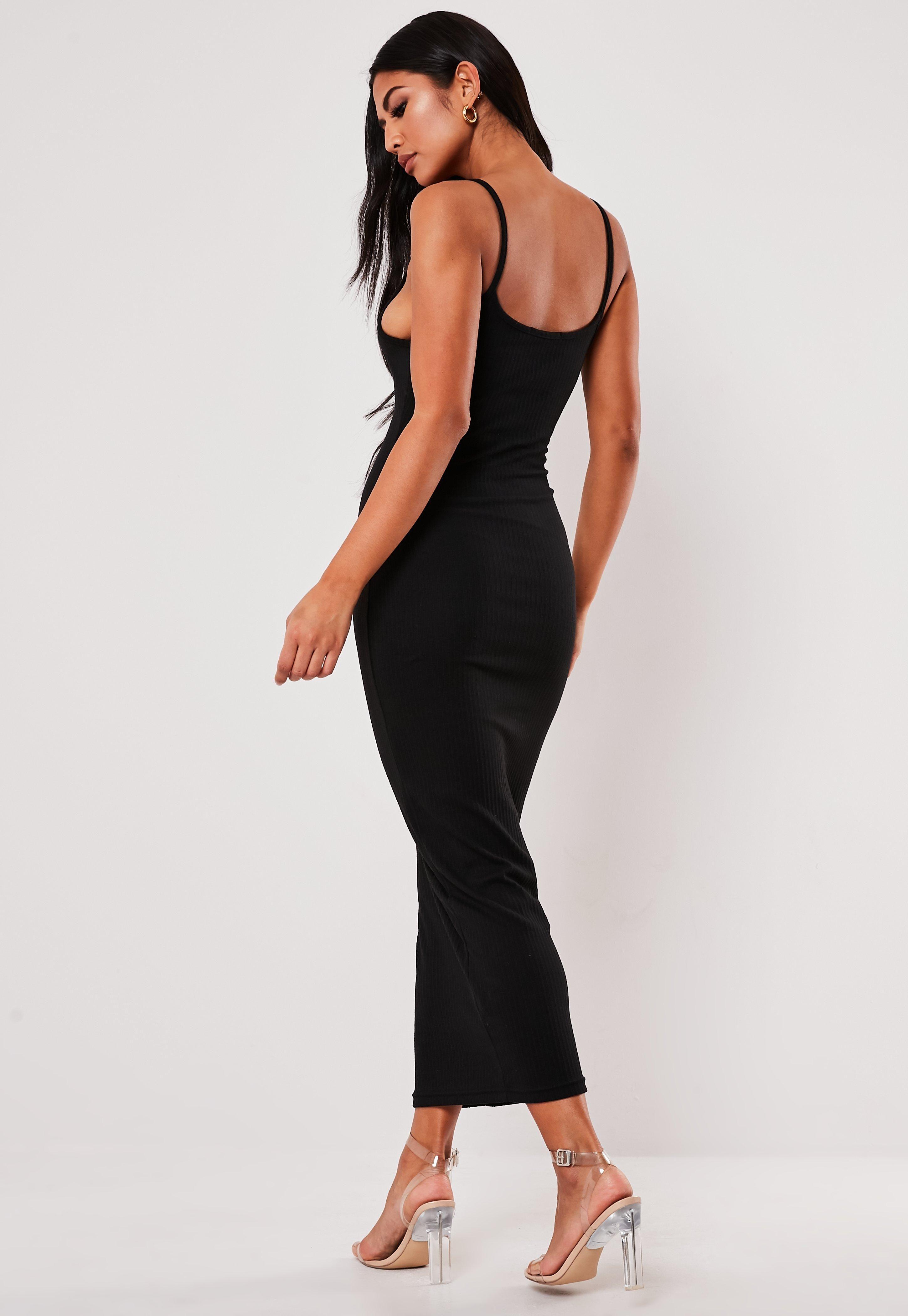 Missguided Black Ribbed Strappy Bodycon Midi Dress Midi Dress Bodycon Bodycon Fashion Strappy Midi Dress [ 4200 x 2900 Pixel ]