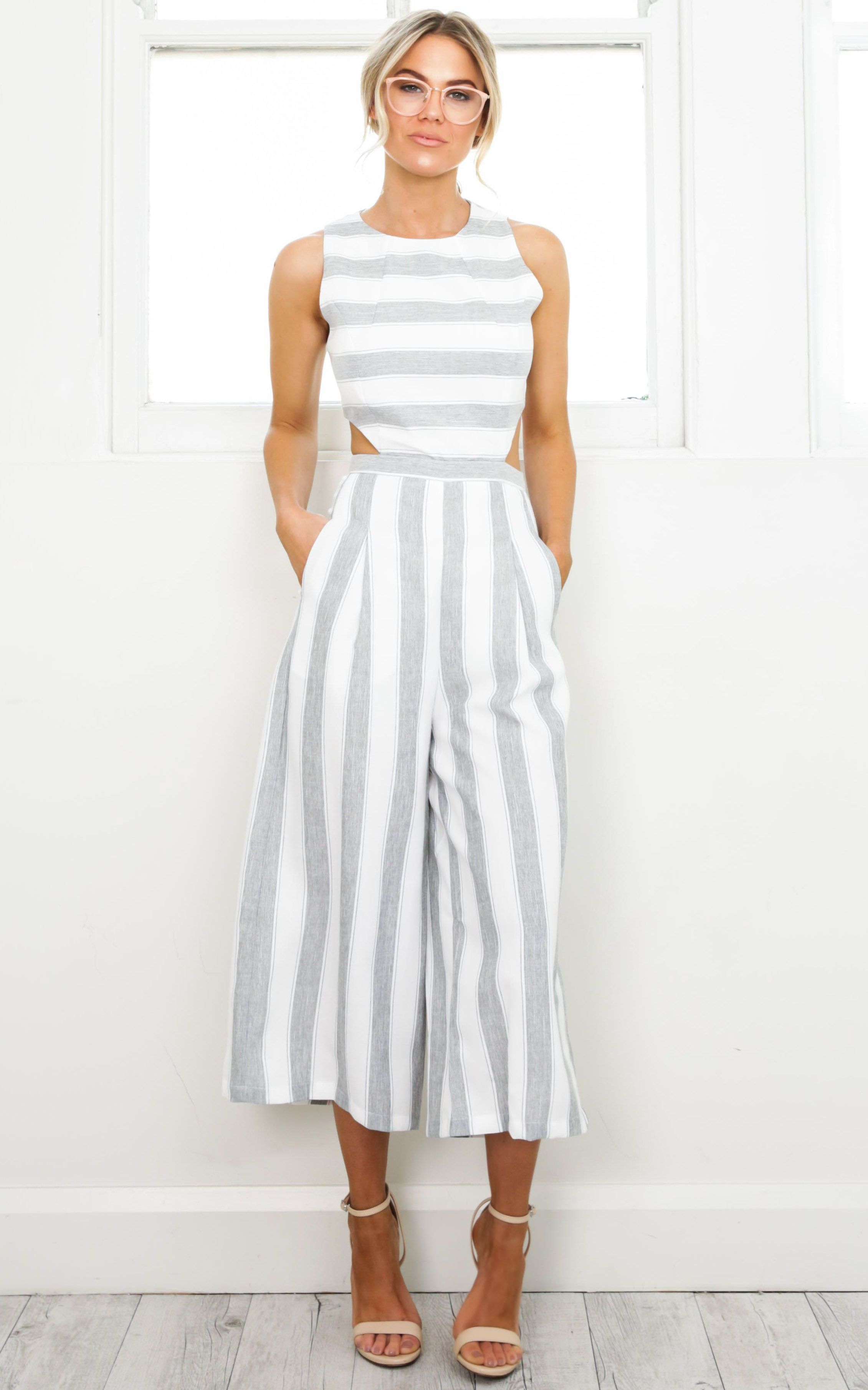 b0d89d50e2d1 Out Dream Yourself Jumpsuit In Grey Stripe Linen Look Produced