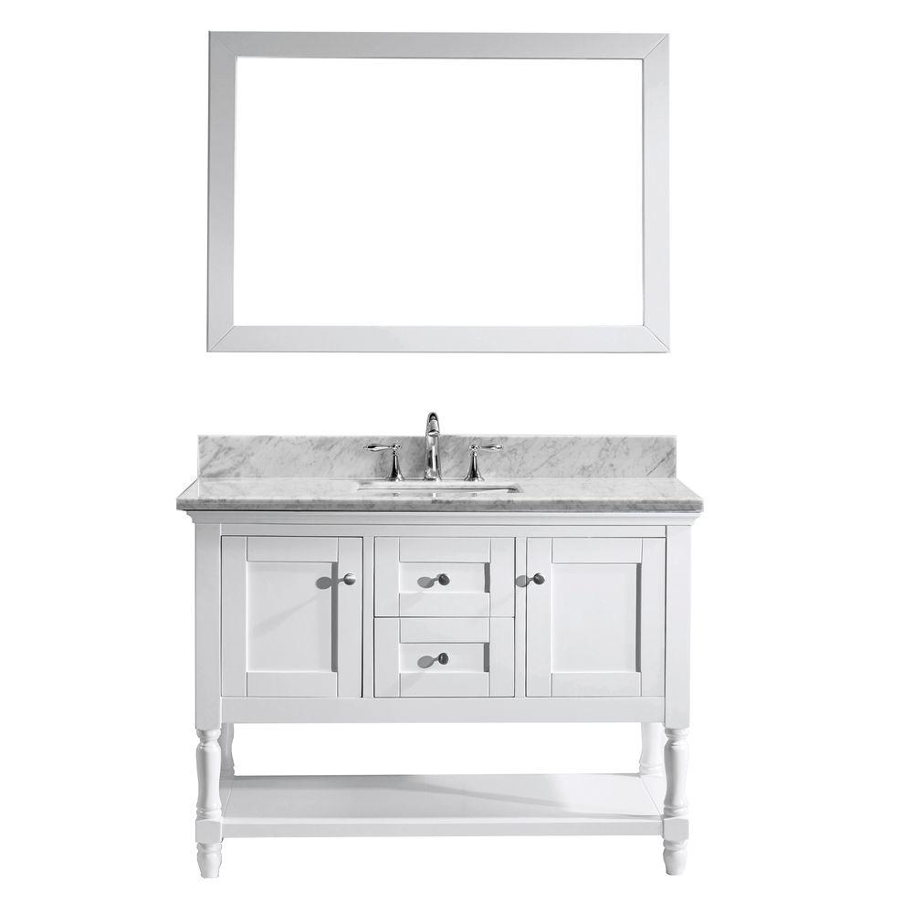 virtu usa julianna 48 in single square basin vanity in white with rh pinterest com