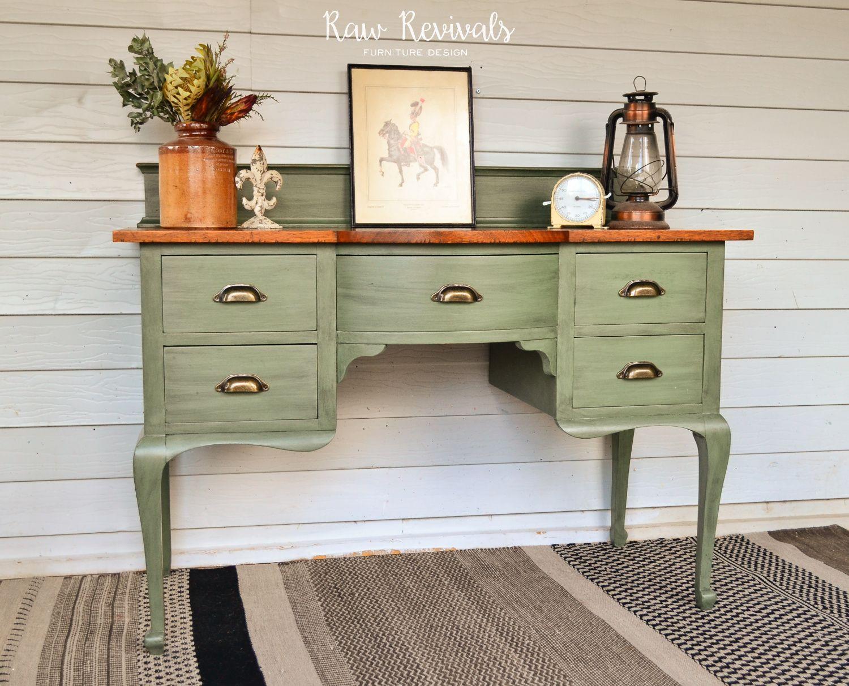 Vintage Provincial Olive Green Desk Or Dresser With Timber Top Www