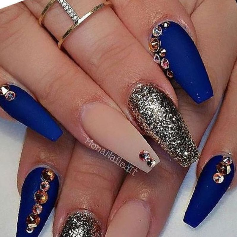 28 Blue And Gold Nail Designs blue designs gold nail in