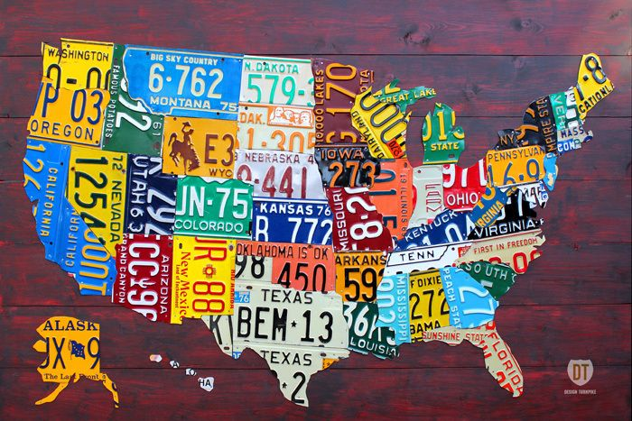 Us Map Made Out Of License Plates.License Plate Usa Map Made By Design Turnpike The Cavender Diary