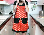 Minnie Mouse disney polka dot pin up apron