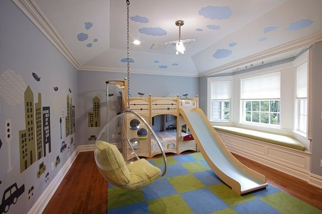 sch nes kinderzimmer bett mit rutsche h ngesessel acryl kinderzimmer pinterest sch ne. Black Bedroom Furniture Sets. Home Design Ideas