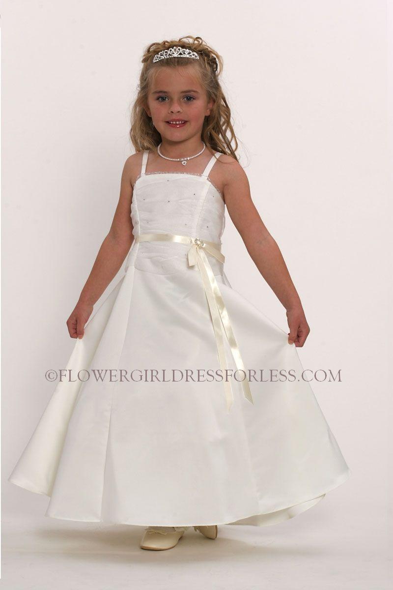 4040I - Flower Girl Dress Style 4040 Ivory- Slight Aline with Tulle Sparkle Bodice - A-Lines - Flower Girl Dress For Less