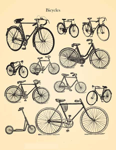 Decoupage Paper Decoupage Design Instant Download Vintage Bicycles Decoupage Paper Bike Poster Bicycle Illustration Retro Bicycle