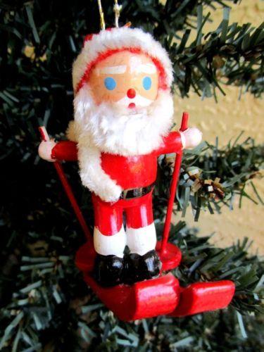 vintage rare wooden large santa claus skiing chenille trim christmas ornament christmas ornament ornament and santa - Christmas Decorations Large Santa Claus