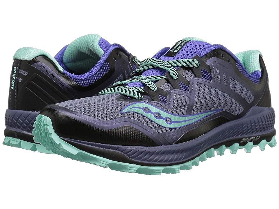 official photos 58d12 fcf43 Saucony Peregrine 8 (Grey/Violet/Aqua) Women's Running Shoes ...
