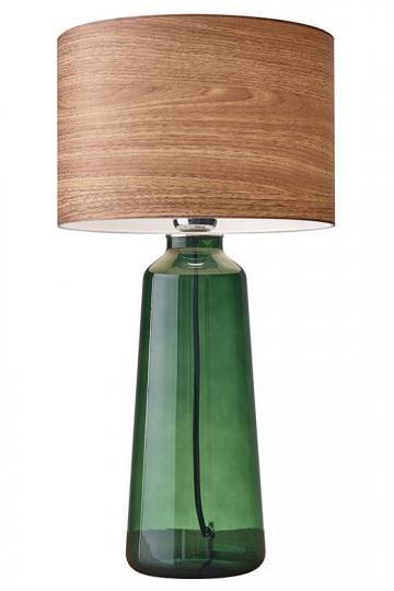 jada table lamp green glass modern and rustic wood grain shade rh pinterest com