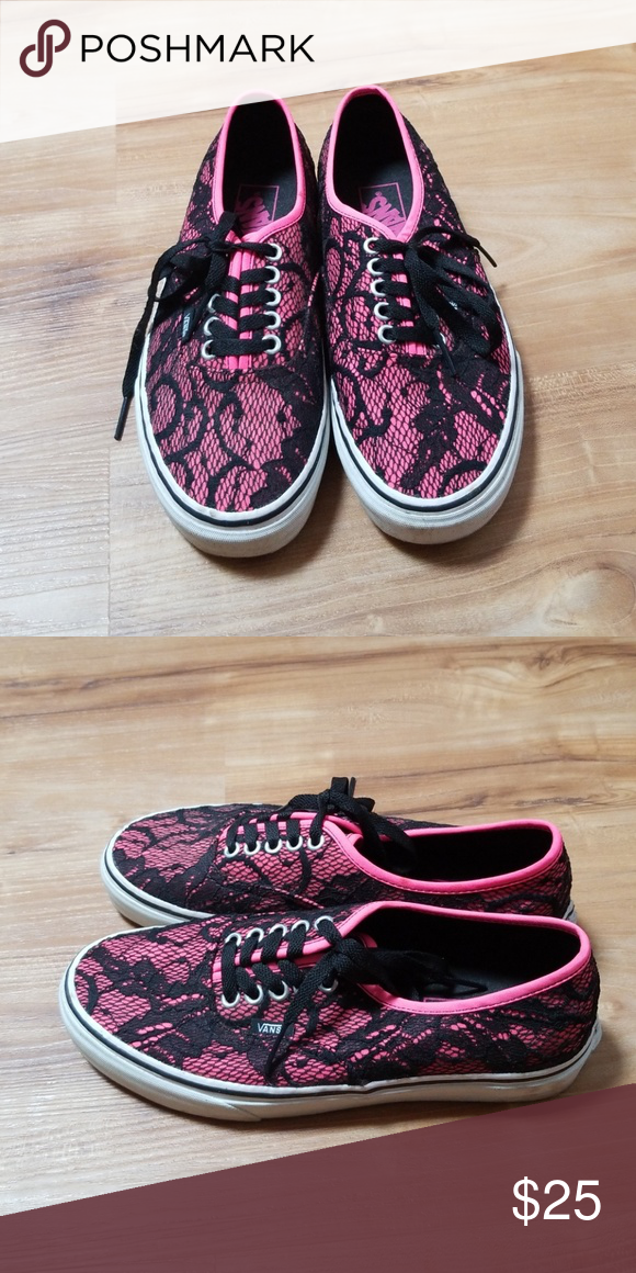 5642dbfa8b Neon Pink Lace Vans These neon pink lace vans have only been worn once. Vans  Shoes Sneakers