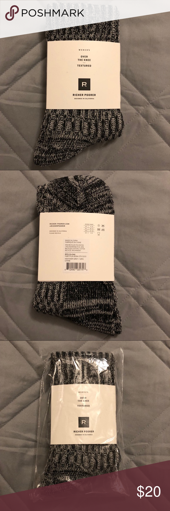 801e1565c Over The Knee Textured Sock Reina by Richer Poorer Brand new! Tags  attached! In original packaging! FabFitFun Box Winter 2018!