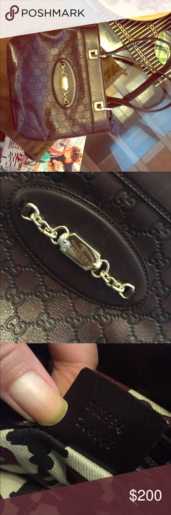 Authentic Gucci handbag It's like 90% new, has code, but no receipt no card. I receive as a gift Gucci Bags Totes
