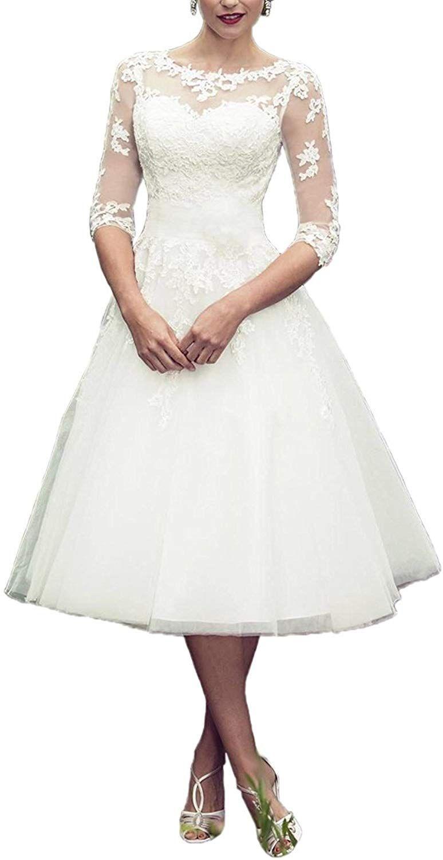 YASIOU Hochzeitskleider Standesamt Damen Kurz Weiß A Linie 20/20