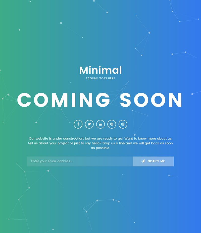 Minimal Coming Soon Maintenance Mode Html5 Css3 Bootstrap Template Free With Grant Background And Particle Effect