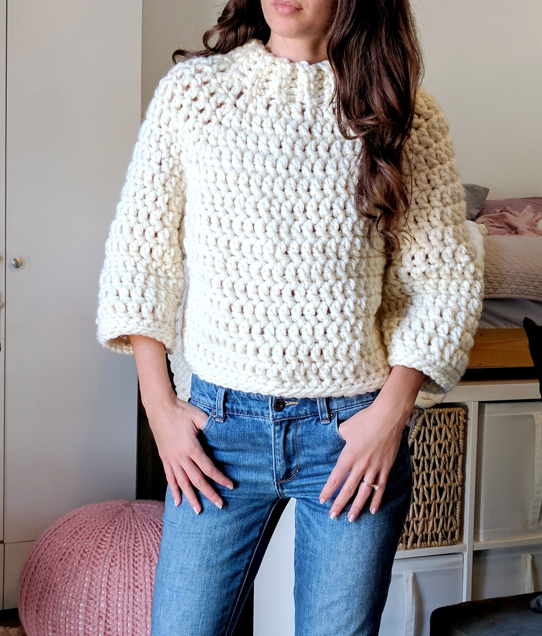 Chunky Cropped Crochet Sweater Pattern | Super Bulky Yarn ...