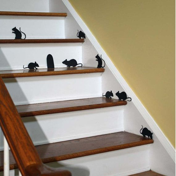 Halloween Decor Wall Decal Creepy Stair Mice With Mouse Hole Repositionable Vinyl Silhouettes Non Scary Decor Cheap Halloween Decorations Farmhouse Halloween