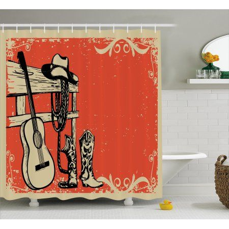 Western Decor Shower Curtain Set Illustration Of Wild West