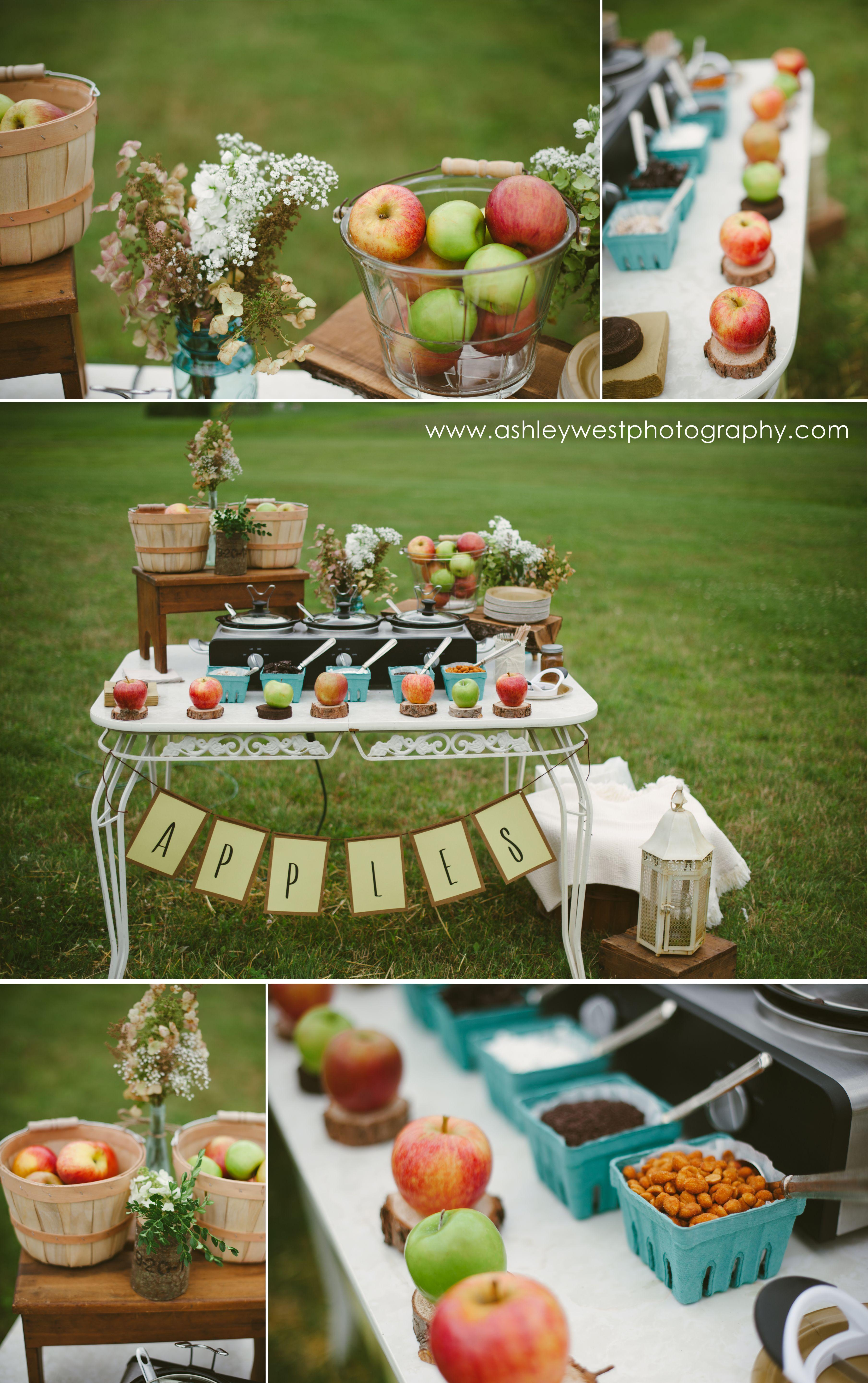 ideas for bridal shower brunch food%0A Carmel Apple Station  Outdoor Backyard Bridal Shower   carmelapples  apples   bridalshower