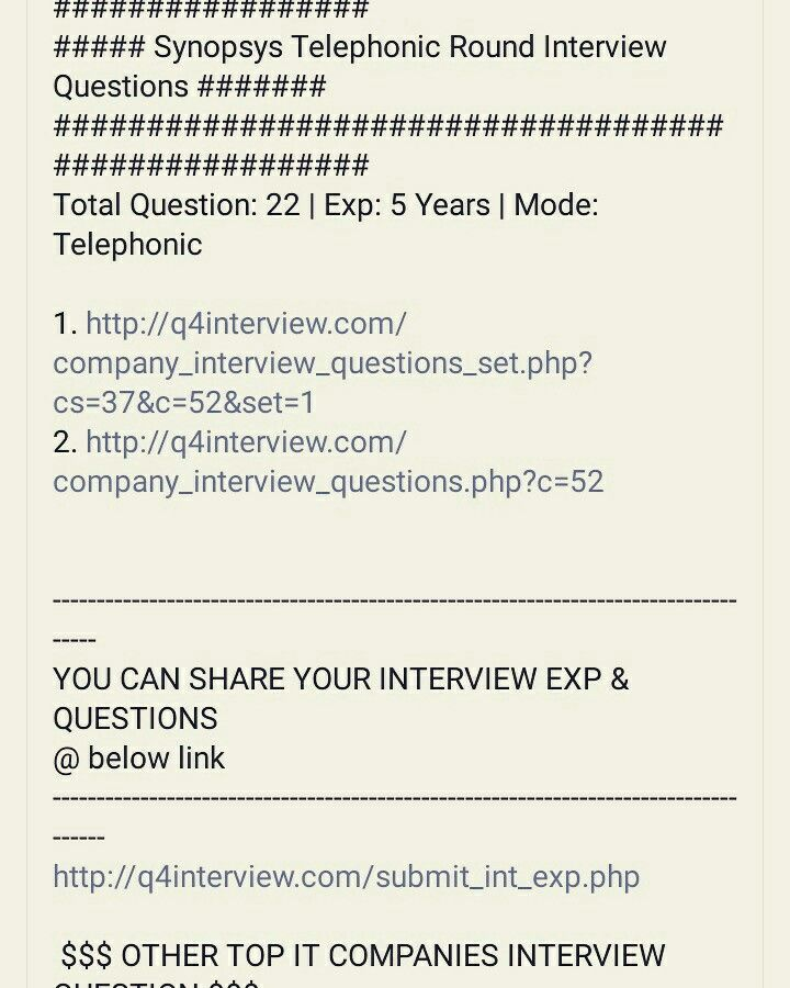 Synopsys Interview Questions | Experience Interview