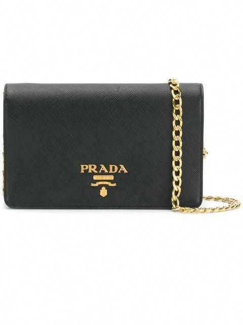 d476977f4f3bb7 Prada logo plaque wallet on chain #Pradahandbags | Prada handbags ...