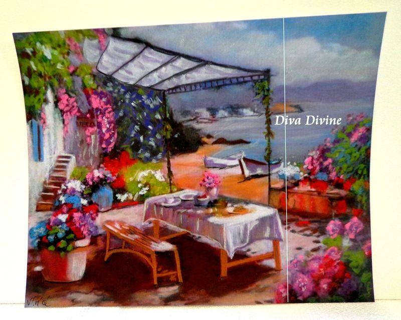 Peinture pastel sec pour tableau romantique dejeuner au - Tableau pour chambre romantique ...