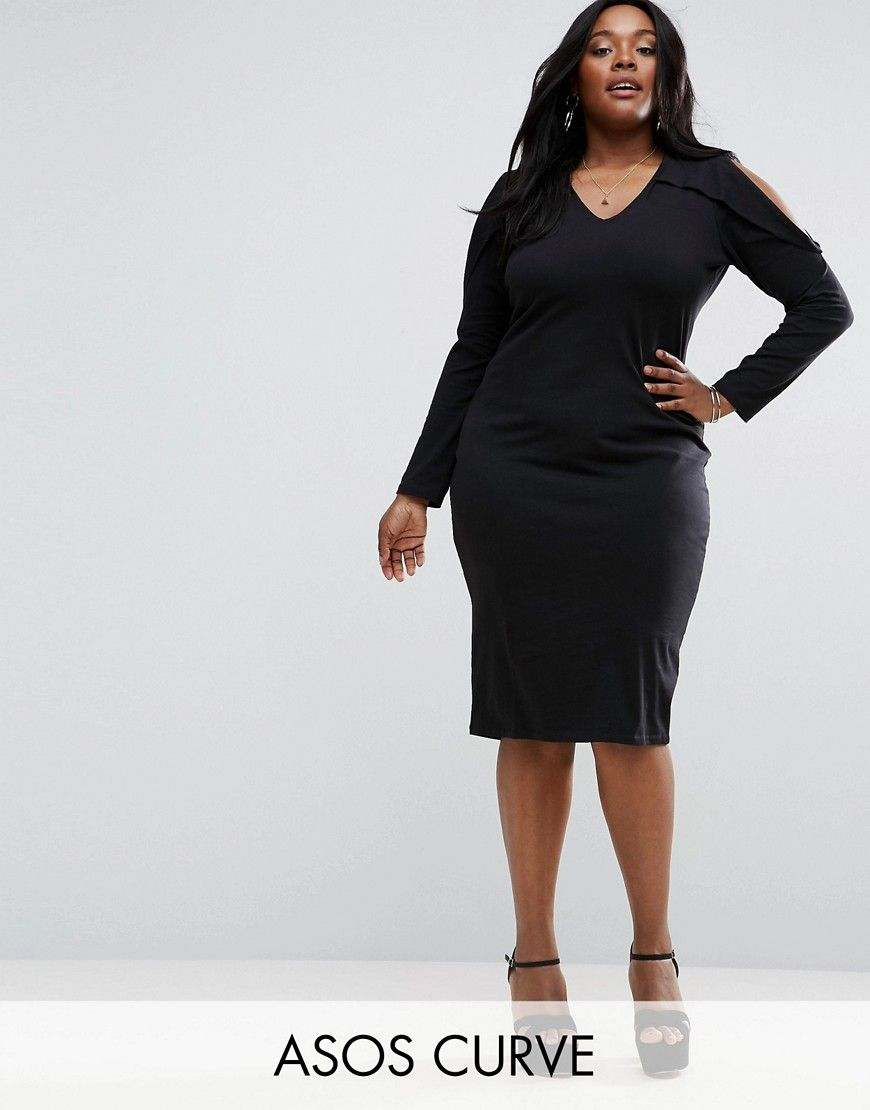 8fdd991bfed Get this Asos Curve s long dress now! Click for more details. Worldwide  shipping. ASOS CURVE Long Sleeve Cold Shoulder Midi Bodycon Dress - Black   Plus-size ...