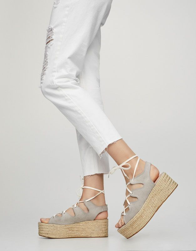a7dd1dd92 Grey lace-up jute wedges - Heeled sandals - Shoes - Woman - PULL&BEAR Greece
