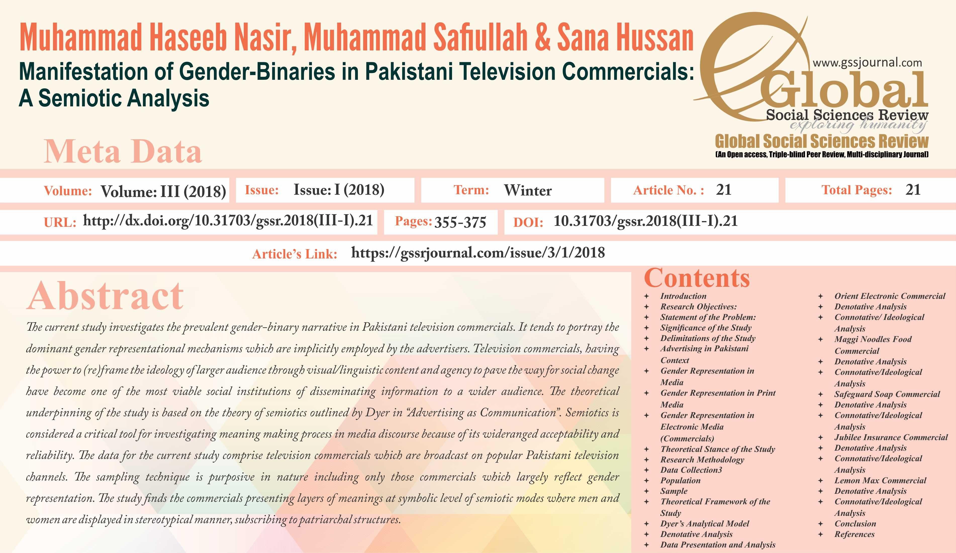 Title Manifestation Of Gender Binaries In Pakistani Television