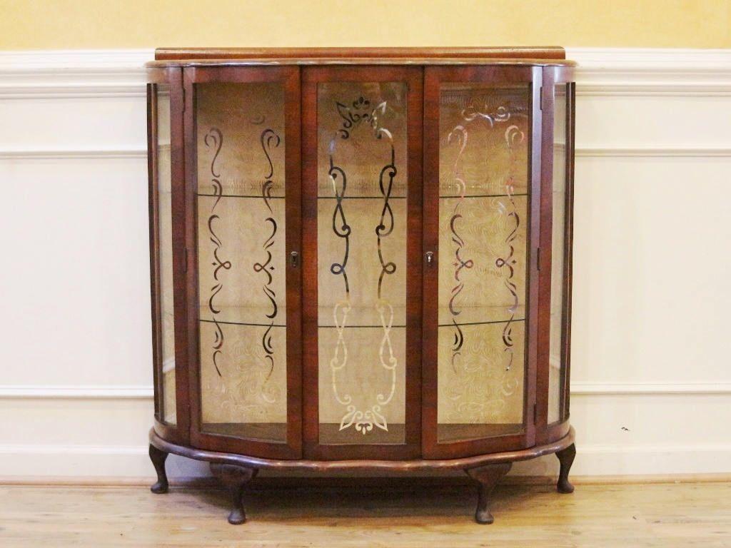 Antique English Art Deco China Cabinet Curio Display Case C1920