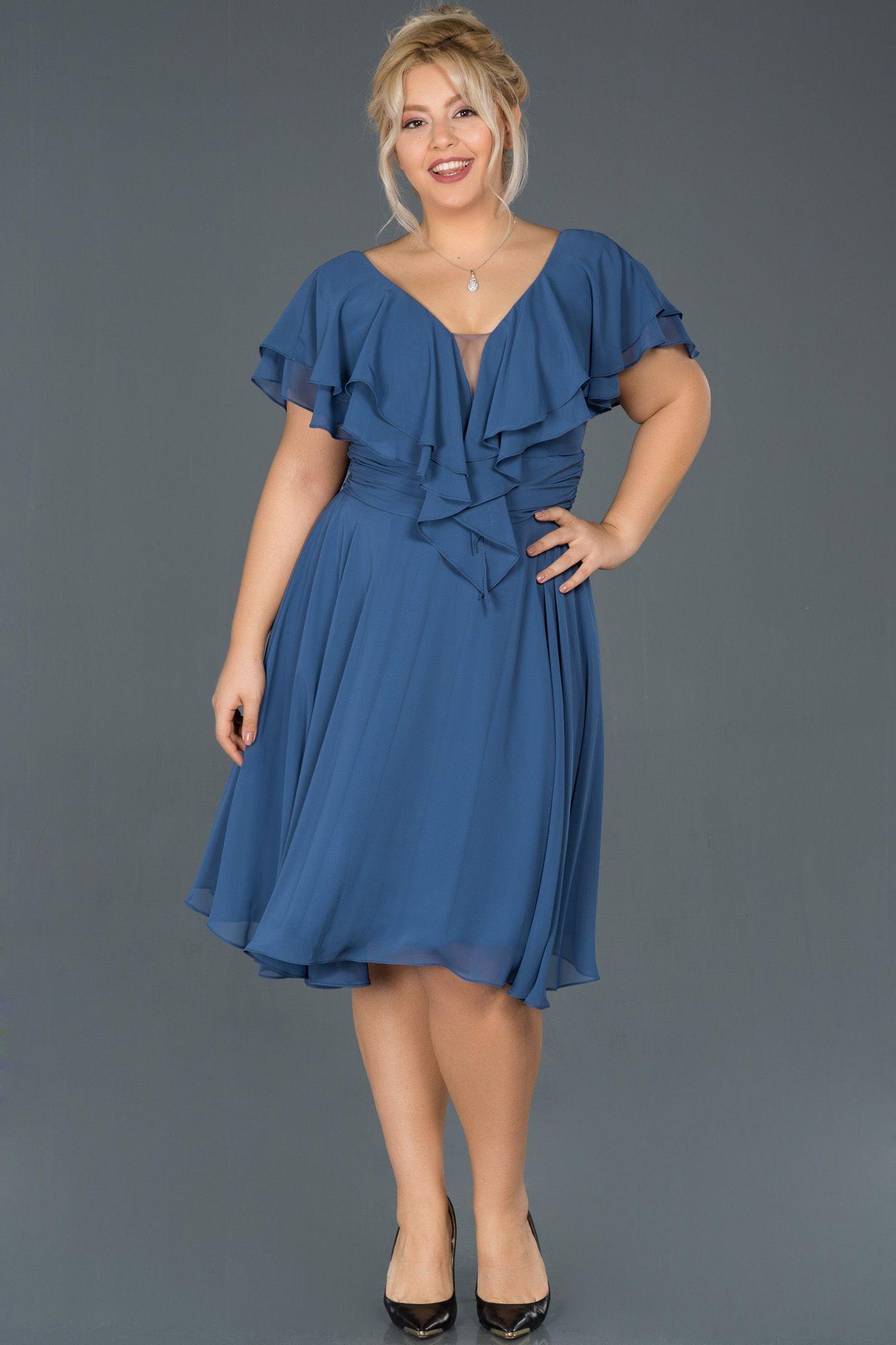 Indigo V Yaka Buyuk Beden Sifon Elbise Abk273 2020 Sifon Elbise Elbise Mini Elbise
