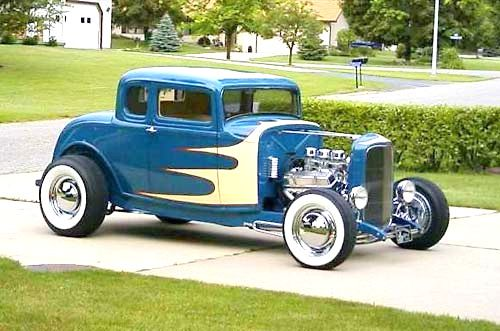 32 Ford Five Window Hot Rod With Beige Scallops Hot Rods Cars