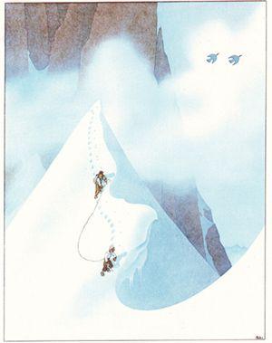 Samivel La Cordee Carte Neige Affiches Retro Illustration