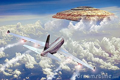 A 747 Boeing flying over the clouds, discovering an UFO just in front of it.
