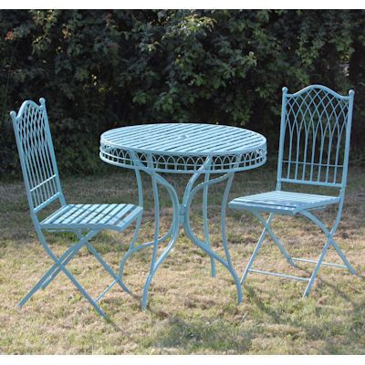 blue metal garden bistro table and chairs set outdoor furniture rh pinterest com