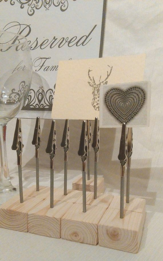 wood wedding card holders%0A   x name card place card holders weddings displays stand clip table number    cm tall