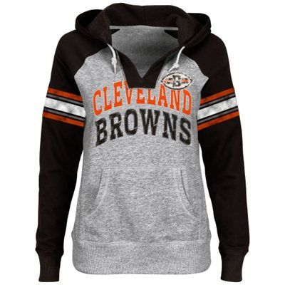 1f4e62d5 Cleveland Browns Ladies Huddle III Pullover Hoodie - Ash/Brown ...