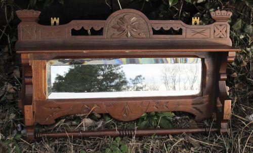 Antique Victorian Eastlake Carved Mahogany Wall Shelf w/ Original Mirror NR yqz https://t.co/e8A4Q1rHaV https://t.co/GPnMY67Ocr