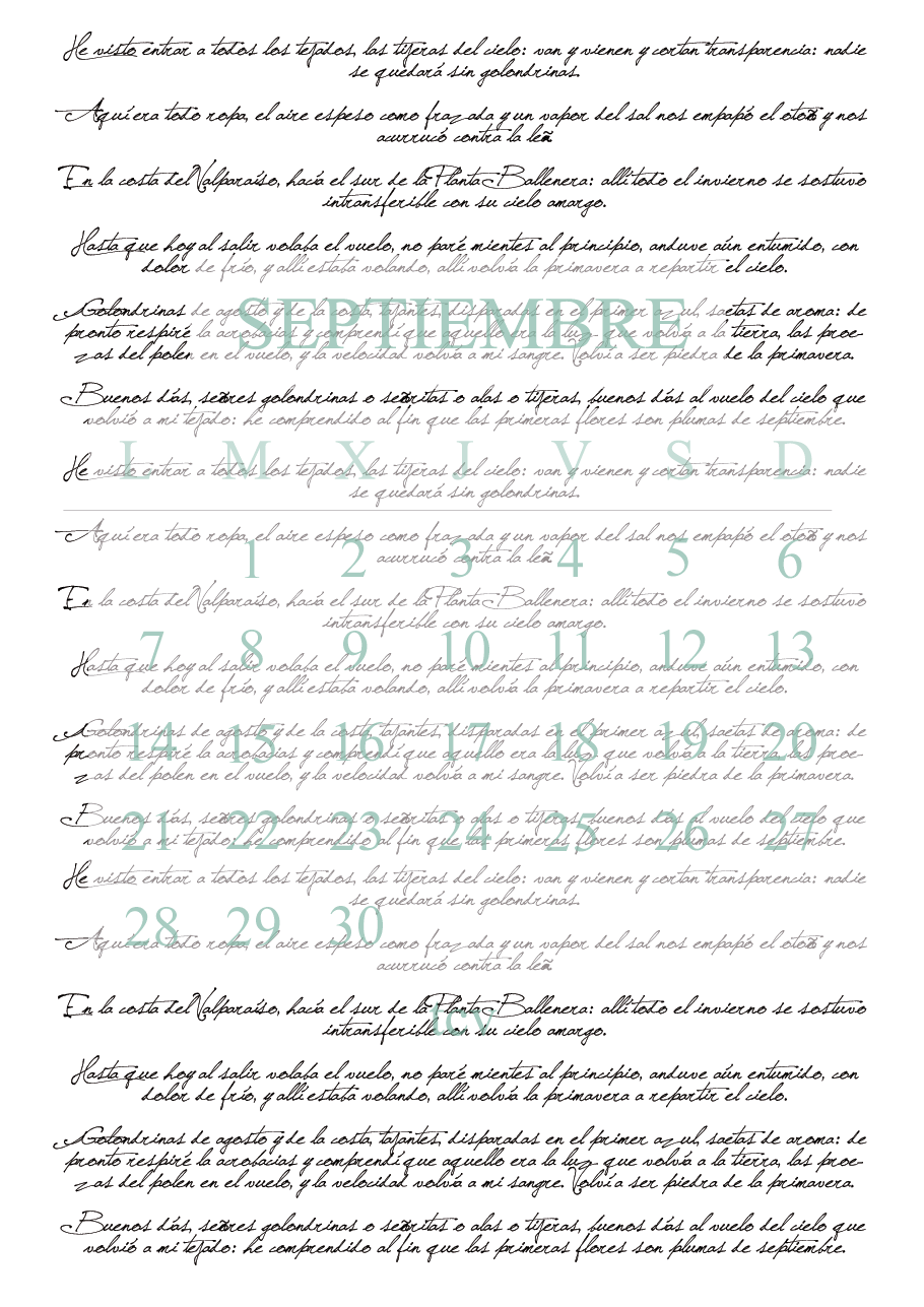 Calendario imprimible septiembre