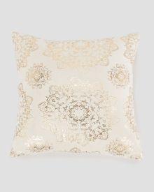 """Gold Metallic Print Decorative Pillow 20"""""""