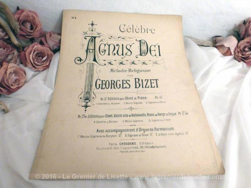 Ancienne Partition Musique Agnus Dei Par Georges Bizet Le Grenier De Lisette Partition Musique Musique Partition